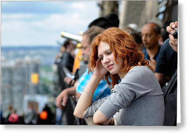 Sad Girl In The Crowd Greeting Card by Evgeny Ivanov