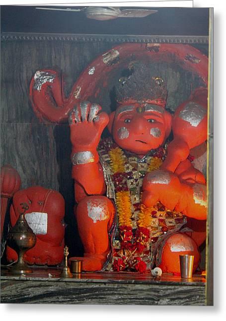 Sad Hanuman, Vrindavan Greeting Card by Jennifer Mazzucco