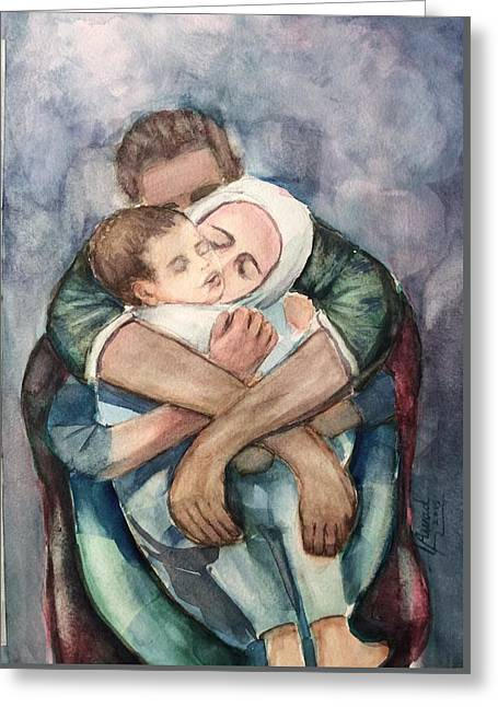 Greeting Card featuring the painting The Saddest Moment by Laila Awad Jamaleldin
