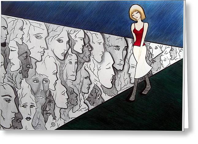 Greeting Card featuring the drawing Sad Stroll For Down Doll by Danielle R T Haney
