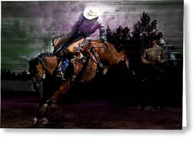 Saddle Bronc Silhouette Greeting Card by Mark Courage