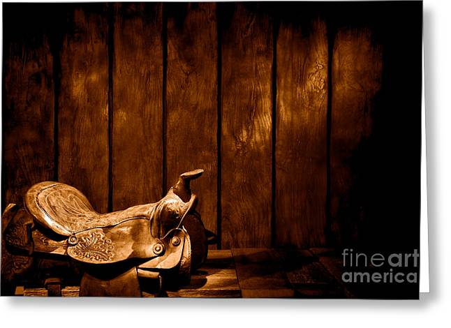 Saddle In The Corner - Sepia Greeting Card by Olivier Le Queinec