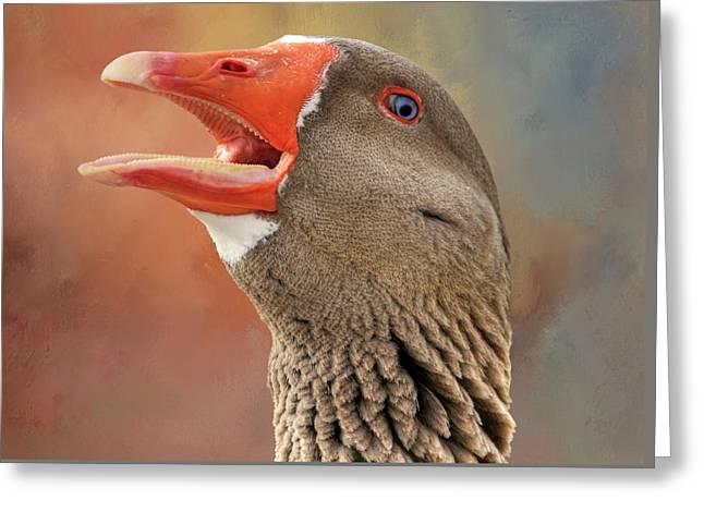 Saddleback Pomeranian Goose Greeting Card