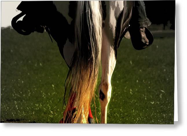 Horseback Riding Digital Greeting Cards - Saddling Home  Greeting Card by Steven  Digman
