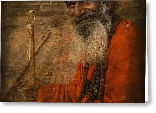 Sadhu Kathmandu Greeting Card by Artur Pirant