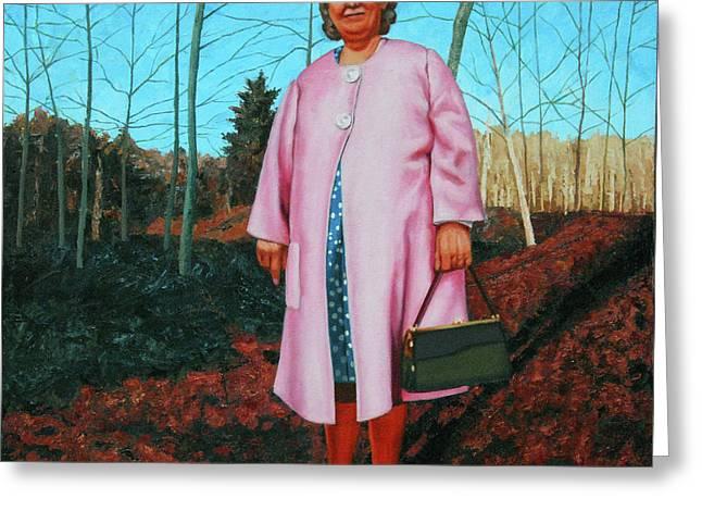 Sadie In Pink Greeting Card by Allan OMarra