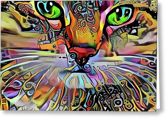 Sadie The Colorful Abstract Cat Greeting Card