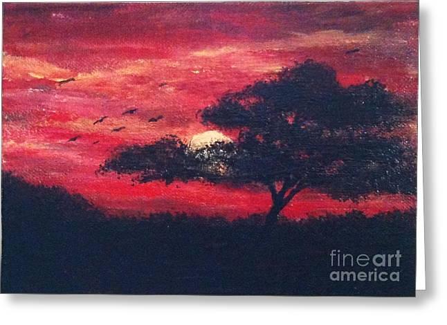 Safari Sunset Greeting Card by Jennifer Gonzalez