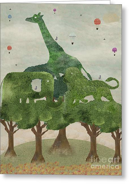 Greeting Card featuring the painting Safari Wood by Bri B
