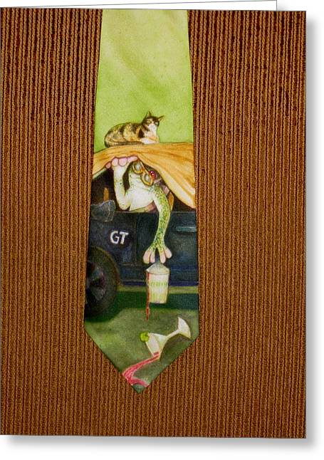 Amphibians Tapestries - Textiles Greeting Cards - Safe in the Garage Greeting Card by David Kelly