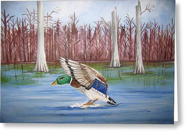 Greeting Card featuring the painting Safe Landing by Belinda Lawson