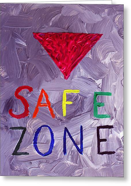 Safe Zone Space Gender And Sexual Minority Lgbtqia In Purple Pink Red Green Orange Yellow Blue Lgbt  Greeting Card by ImQueer AndLoveIt