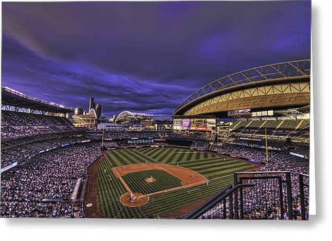 Baseball Stadiums Greeting Cards - Safeco Field Greeting Card by Dan McManus