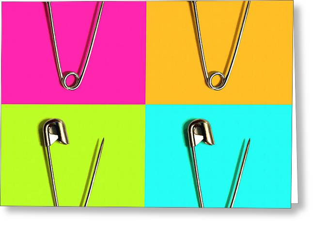 Safety Pin Pop Art Four 20161112 Greeting Card by Wingsdomain Art and Photography