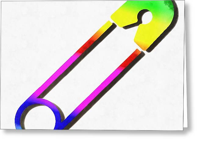 Safety Pin Rainbow Painting Greeting Card by Edward Fielding