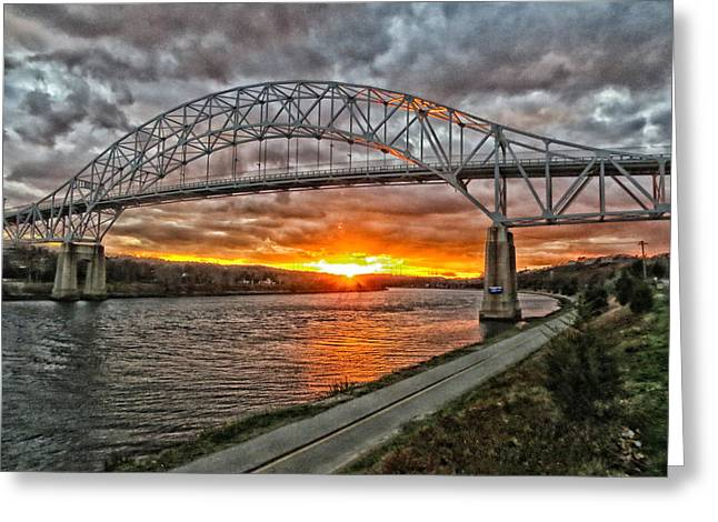 Sagamore Bridge Sunset Greeting Card by Constantine Gregory