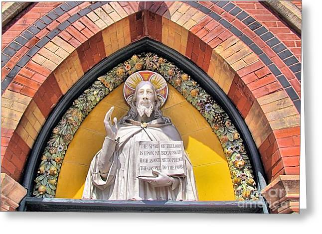 Sage Chapel Front Entrance Greeting Card by Elizabeth Dow