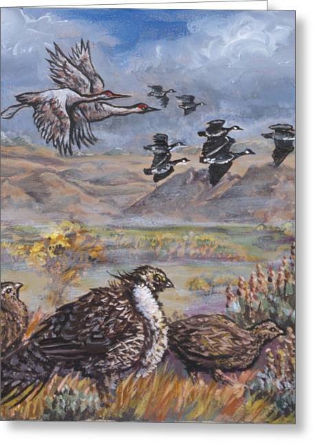 Sandhill Cranes Paintings Greeting Cards - Sage Grouse Watch the Migration Greeting Card by Dawn Senior-Trask