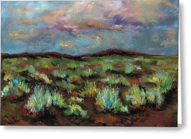 Raining Pastels Greeting Cards - SageBrush Greeting Card by Frances Marino