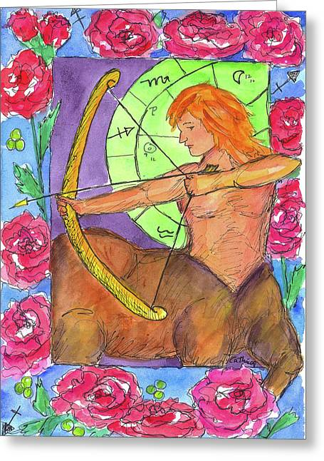 Greeting Card featuring the painting Sagittarius by Cathie Richardson