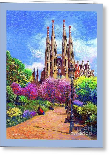 Sagrada Familia And Park,barcelona Greeting Card by Jane Small