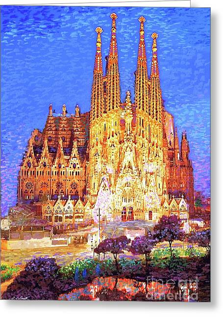 Sagrada Familia At Night Greeting Card by Jane Small