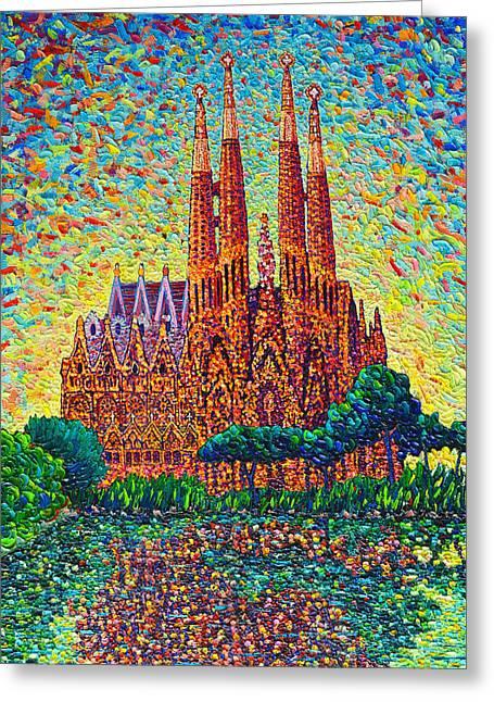 Sagrada Familia Barcelona Modern Impressionist Palette Knife Oil Painting By Ana Maria Edulescu Greeting Card