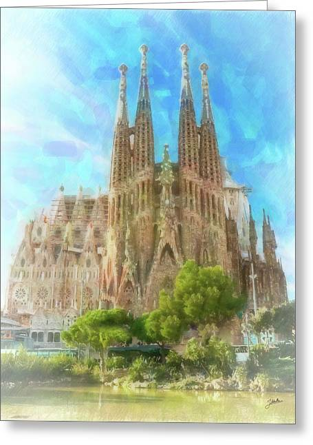 Sagrada Familia Greeting Card by Joaquin Abella