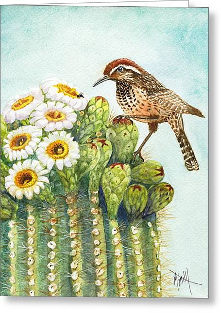 Greeting Card featuring the painting Saguaro And Cactus Wren by Marilyn Smith