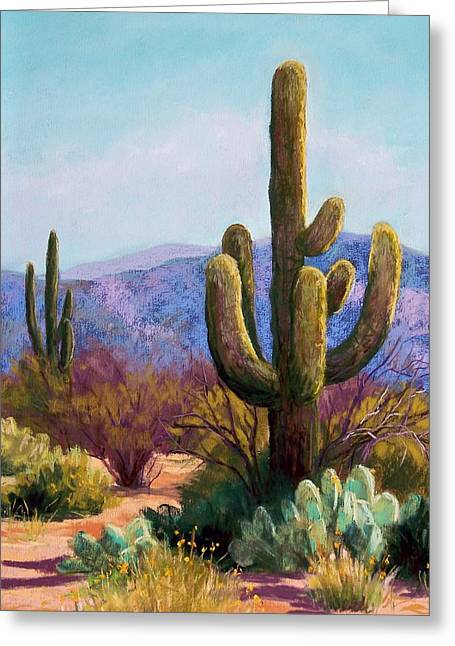 Southwest Pastels Greeting Cards - Saguaro Greeting Card by Candy Mayer