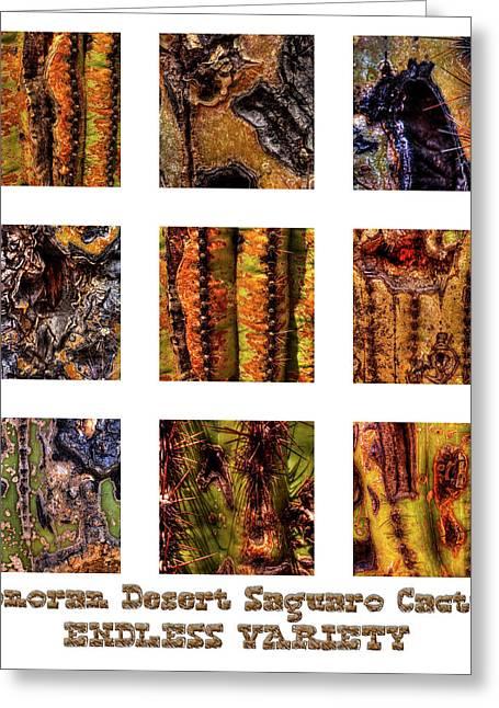 Saguaro Detail Endless Variety Greeting Card by Roger Passman