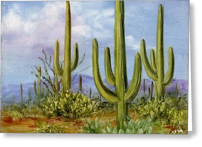 Saguaro Scene 1 Greeting Card by Summer Celeste