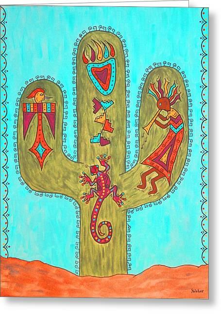 Saguaro Soiree Greeting Card by Susie WEBER