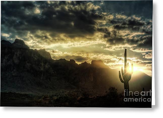 Saguaro Sunrise  Greeting Card by Saija  Lehtonen