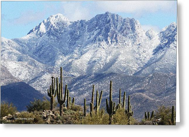 Saguaros At Four Peaks With Snow Greeting Card by Tom Janca
