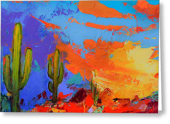 Greeting Card featuring the painting Saguaros Land Sunset By Elise Palmigiani - Square Version by Elise Palmigiani