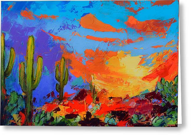 Saguaros Land Sunset Greeting Card