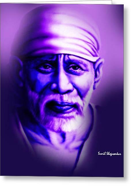 Saibaba shirdi greeting cards greeting card featuring the painting sai blue 5 by sunil shegaonkar by saibaba shirdi m4hsunfo