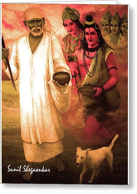 Shirdi saibaba greeting cards page 2 of 2 fine art america saibaba with bramha vishnu mahesh by sunil shegaonkar greeting card m4hsunfo