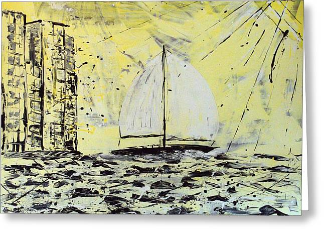 Sail And Sunrays Greeting Card by J R Seymour