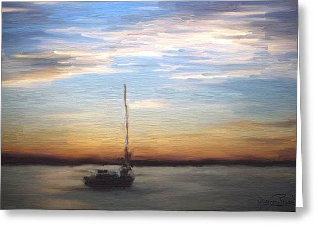 Greeting Card featuring the painting Sail Away by Wayne Pascall