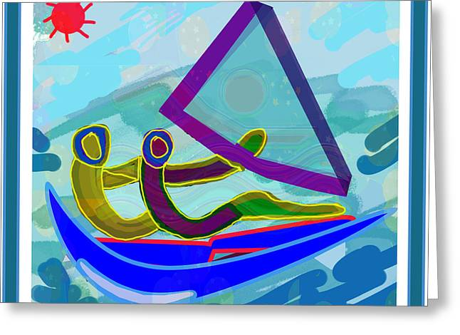 Sail Boat Couple Graphic Ditigal Abstract Painting Greeting Card