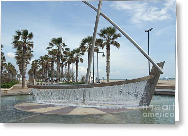 Sail Boat Fountain In Valencia Greeting Card