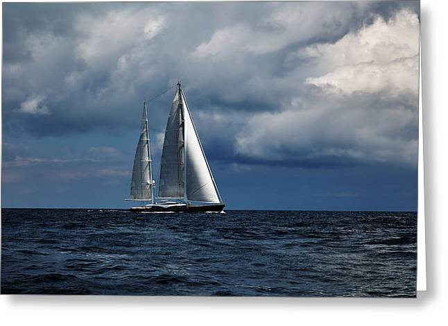 Sail Boat In Stormy Sea.  Greeting Card by Sergey Pro