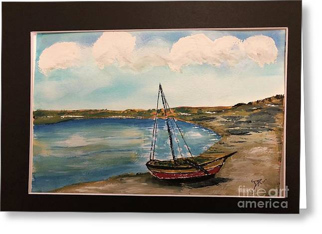 Greeting Card featuring the painting Sail Boat On Shore by Donald Paczynski