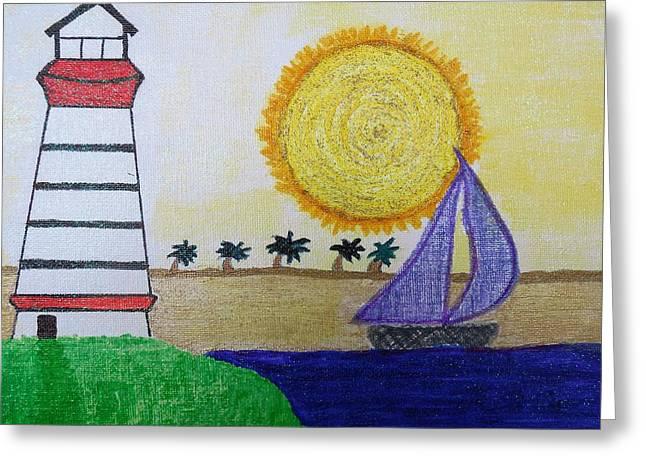 Sail Boat With Purple Sails Greeting Card