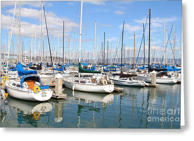 Sail Boats At San Francisco China Basin Pier 42 With The Bay Bridge In The Background . 7d7664 Greeting Card by Wingsdomain Art and Photography