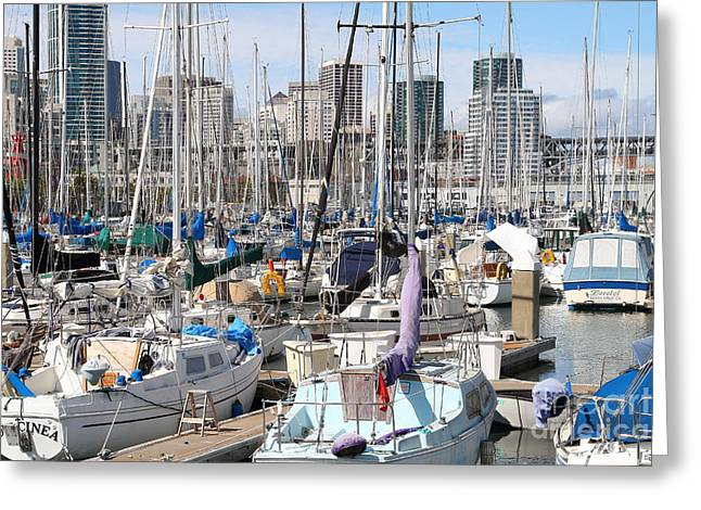 Sail Boats At San Francisco China Basin Pier 42 With The San Francisco Skyline . 7d7675 Greeting Card