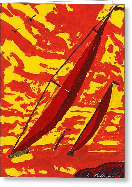 Sail Boats Greeting Card by Dean Kellner