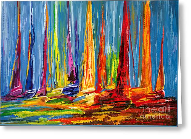 Sail Boats In A Row Greeting Card by Tim Gilliland
